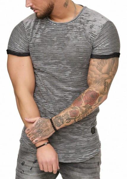 T-shirt OneRedox pour homme à manches courtes et col large, modèle 1494