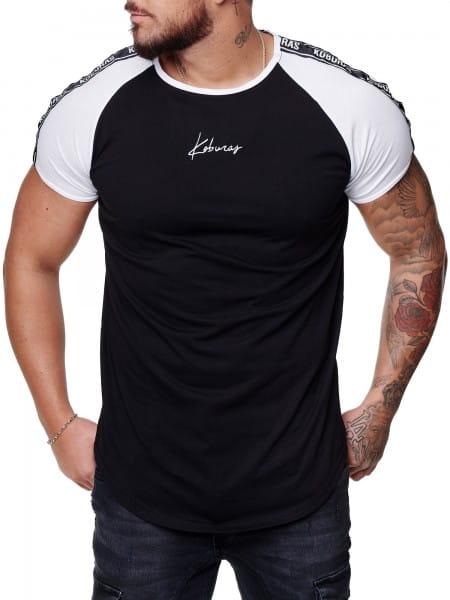 Herren T-Shirt Kurzarm Rundhals Seitenstreifen Oversize Tee Modell 2165
