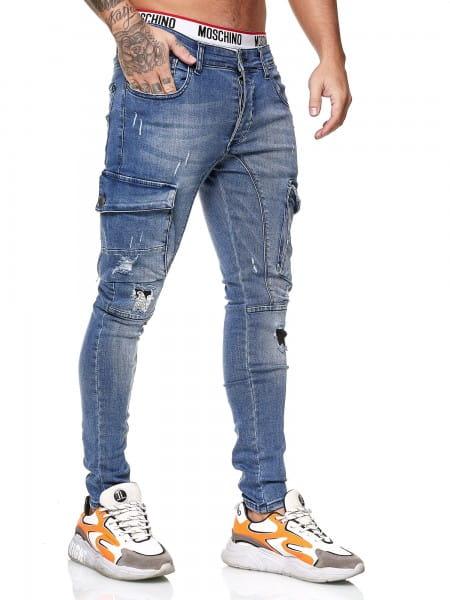 OneRedox Designer Herren Jeans Cargohose Regular Skinny Fit Jeanshose Destroyed Stretch Modell 8021
