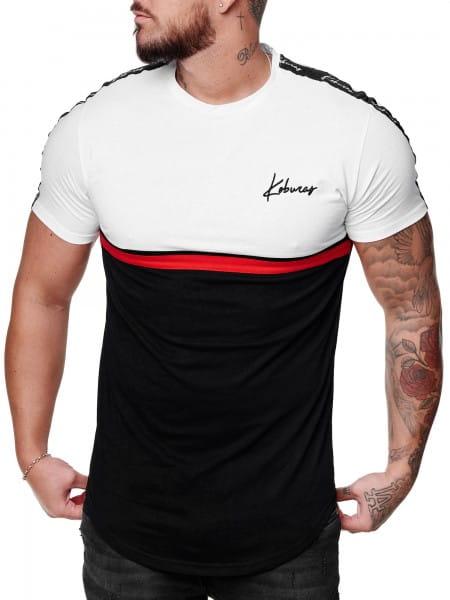Herren T-Shirt Kurzarm Rundhals Gestreift Oversize Tee Modell 2166