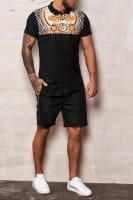 OneRedox Herren Short-Jogginganzug Shortanzug Sportanzug Barock Muster Seitenstreifen Short T-Shirt