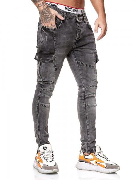OneRedox Designer Herren Jeans Cargohose Regular Skinny Fit Jeanshose Destroyed Stretch Modell 8019