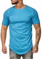 OneRedox Hommes Chemise à capuche à manches longues Chemise à manches courtes Sweatshirt manches courtes T-Shirt 9052 Bleu