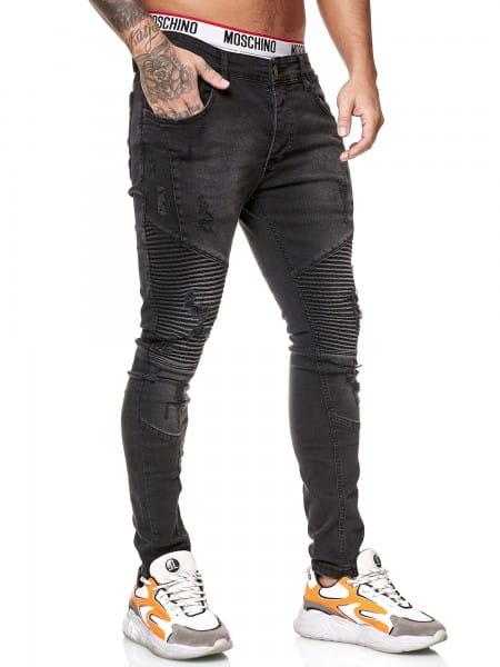 OneRedox Designer Herren Jeans Bikerhose Regular Skinny Fit Jeanshose Destroyed Stretch Modell 8025