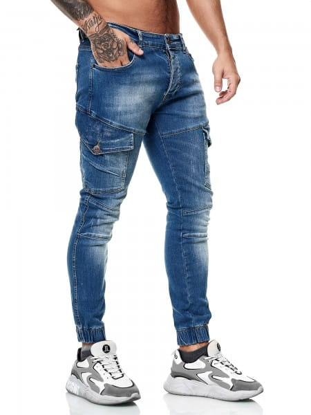 Designer Herren Jeans Cargohose Regular Skinny Fit Jeanshose Destroyed Stretch Modell 8036