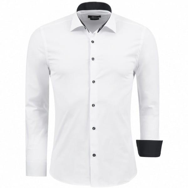 Herren Hemd Baumwolle Langarmhemd Slim Fit Freizeithemd Bügelleicht 1122