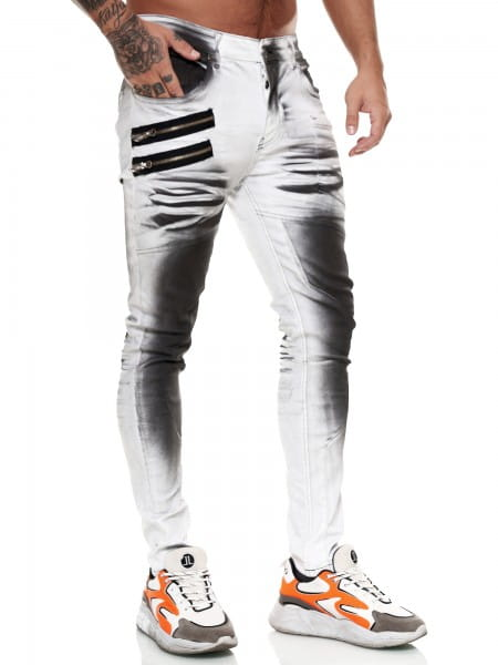 Designer Herren Jeans Cargohose Regular Skinny Fit Jeanshose Destroyed Stretch Modell 8031