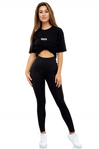 Schwestaa Damen Leggins Schwarz Blickdicht Laufhose Fitness Sporthose Trainingshose Yogapants SCH-10