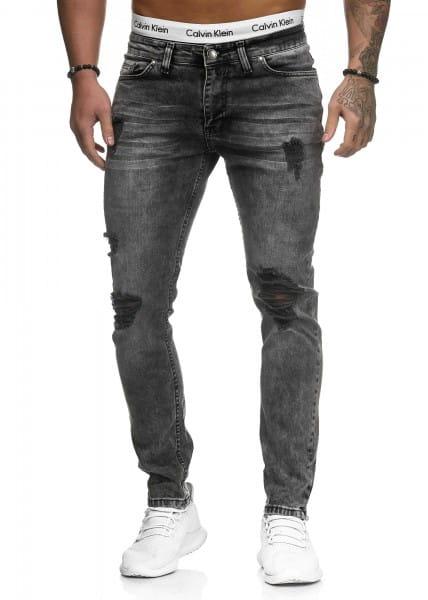 OneRedox Hommes Jeans Jeans Denim Slim Fit Used Design Modèle 5117 Gris