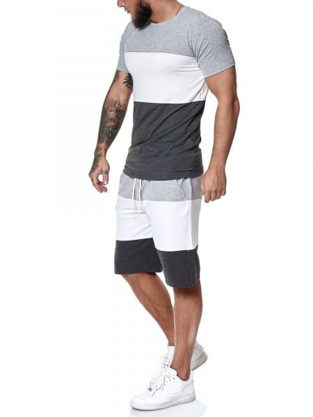 OneRedox Herren Short-Jogginganzug Shortanzug Sportanzug Short T-Shirt Modell 1465