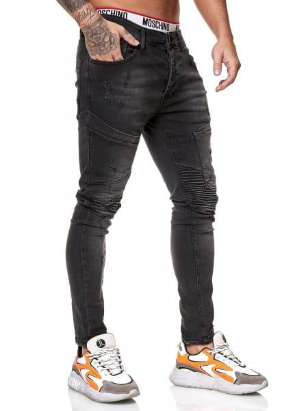OneRedox Designer Herren Jeans Bikerhose Regular Skinny Fit Jeanshose Destroyed Stretch Modell 8032