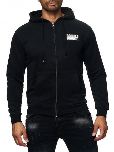 Herren Zip Hoodie Kapuzenpullover Pullover Pulli Strickjacke Bauchtasche Modell BRU-006